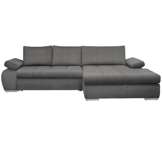 WOHNLANDSCHAFT in Textil Dunkelgrau  - Chromfarben/Dunkelgrau, Design, Kunststoff/Textil (294/173cm) - Carryhome