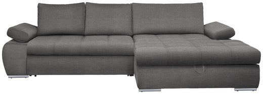 WOHNLANDSCHAFT in Textil Hellgrau - Chromfarben/Hellgrau, Design, Kunststoff/Textil (294/173cm) - Carryhome