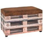 TRUHENBANK Lederlook Braun, Creme  - Creme/Schwarz, Basics, Kunststoff/Textil (65/42/40cm) - Carryhome