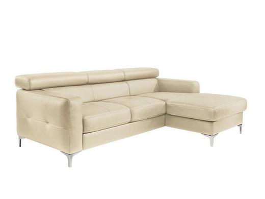 ECKSOFA Lederlook Bettkasten, Schlaffunktion Beige - Beige/Silberfarben, Design, Textil (226/169cm) - Carryhome