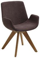 STUHL Webstoff Dunkelbraun, Eichefarben - Eichefarben/Dunkelbraun, Design, Holz/Textil (63/86/57cm) - VALDERA