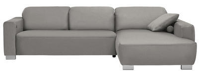 WOHNLANDSCHAFT in Grau Textil - Chromfarben/Beige, Design, Holz/Textil (296/195cm) - Hom`in