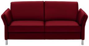 DREISITZER-SOFA in Leder Rot  - Rot/Alufarben, Design, Leder/Metall (190/82/99cm) - Dieter Knoll