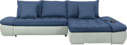 WOHNLANDSCHAFT in Blau, Weiß Textil - Chromfarben/Blau, Design, Textil/Metall (309/200cm) - Hom`in