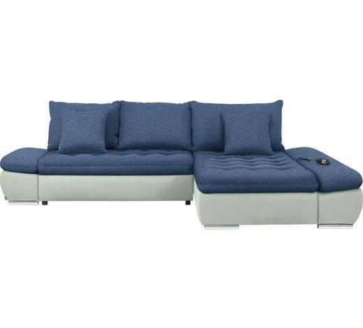 WOHNLANDSCHAFT in Textil Blau, Weiß  - Chromfarben/Blau, Design, Textil/Metall (309/200cm) - Hom`in