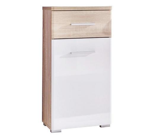 UNTERSCHRANK Weiß - Silberfarben/Weiß, Basics, Holzwerkstoff/Kunststoff (38/78/31cm) - Xora
