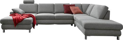 WOHNLANDSCHAFT Flachgewebe Rücken echt - Chromfarben/Grau, Design, Textil/Metall (165/313/219cm) - Musterring