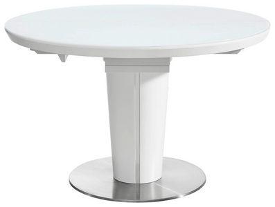 MATBORD - vit/rostfritt stål-färgad, Design, metall/glas (120(160)/120/76cm) - Novel