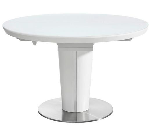 JÍDELNÍ STŮL, bílá, barvy nerez oceli - bílá/barvy nerez oceli, Design, kov/kompozitní dřevo (120(160)/120/76cm) - Novel