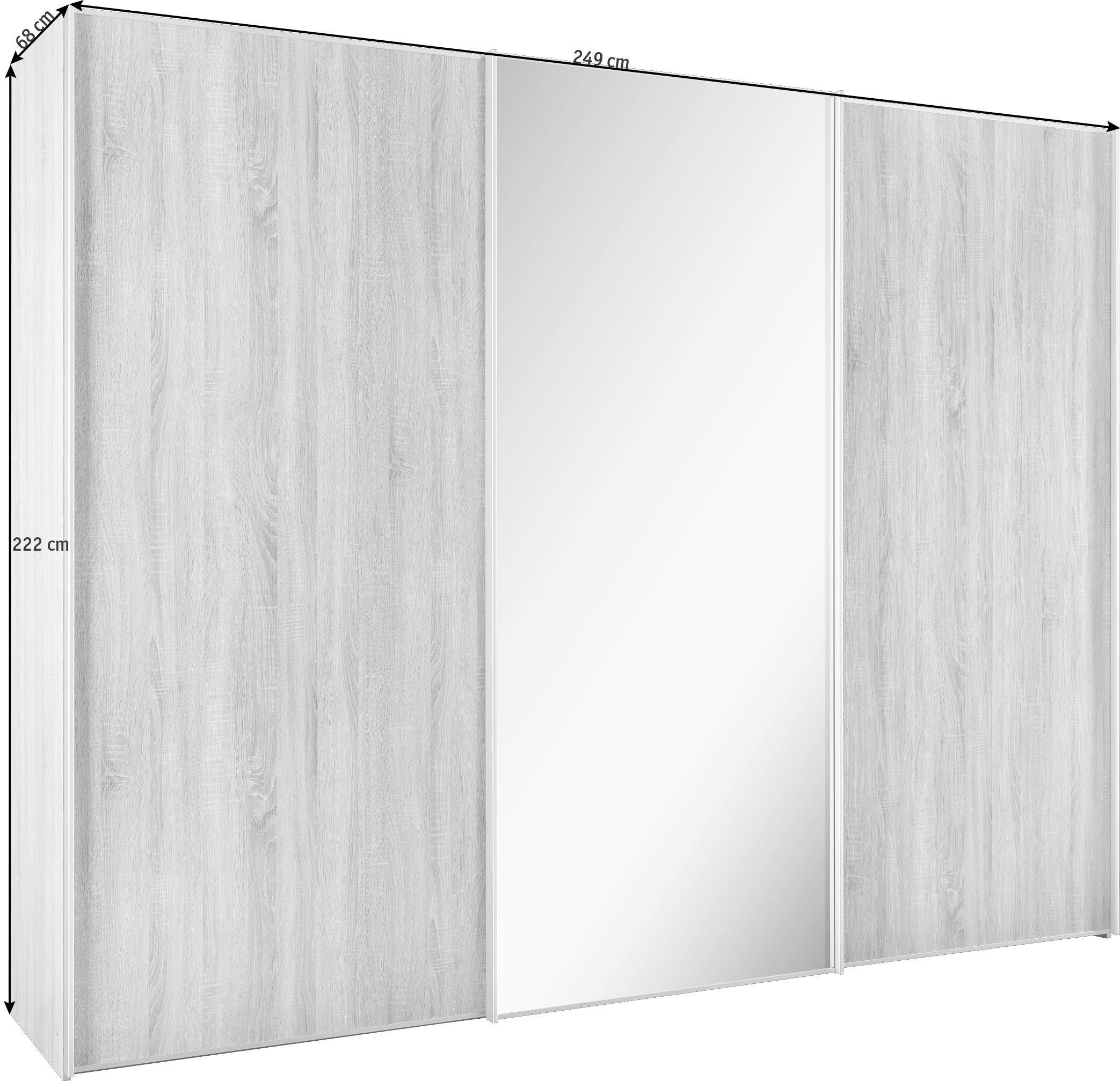 ORMAR S KLIZNIM VRATIMA - bijela/boje aluminija, Design, staklo/drvni materijal (249/222/68cm) - MODERANO