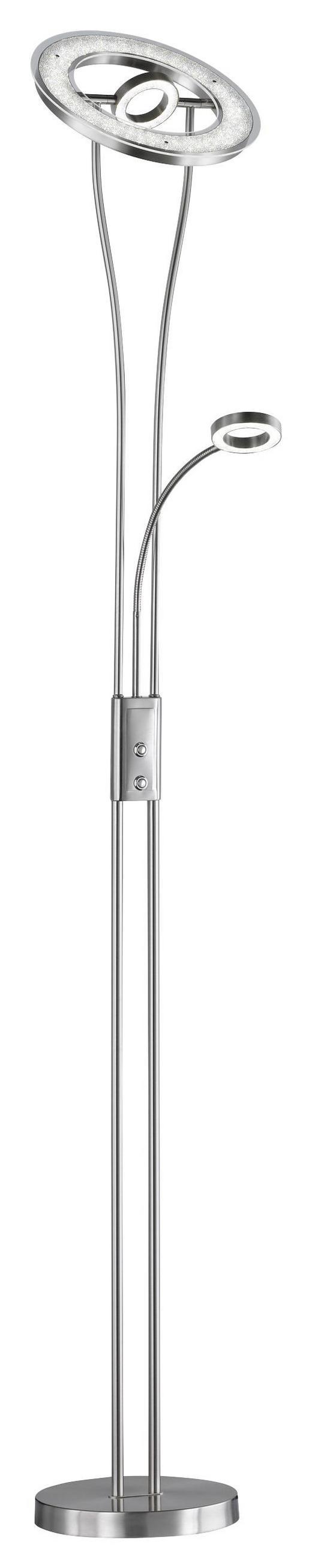 LED-STEHLEUCHTE - Platinfarben/Chromfarben, Design, Kunststoff/Metall (25/180/25cm)