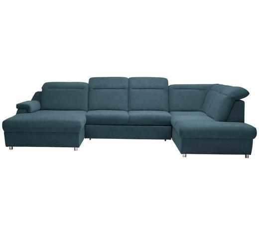 WOHNLANDSCHAFT in Textil Blau - Chromfarben/Blau, Design, Kunststoff/Textil (193/363/223cm) - Welnova