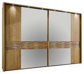 SCHWEBETÜRENSCHRANK 2  -türig Eiche teilmassiv Eichefarben - Chromfarben/Eichefarben, KONVENTIONELL, Holz/Holzwerkstoff (250/217/67cm) - DIETER KNOLL