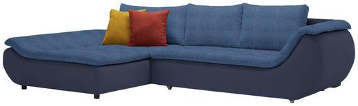 WOHNLANDSCHAFT in Textil Blau, Dunkelblau - Blau/Schwarz, Design, Kunststoff/Textil (185/310/cm) - Carryhome