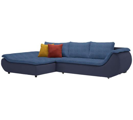 WOHNLANDSCHAFT in Textil Blau, Dunkelblau  - Blau/Schwarz, Design, Kunststoff/Textil (185/310cm) - Carryhome