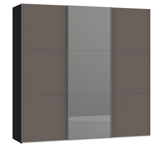 SCHWEBETÜRENSCHRANK 3-türig Grau, Schwarz  - Silberfarben/Schwarz, Design, Glas/Metall (227,6/220/46cm) - Jutzler