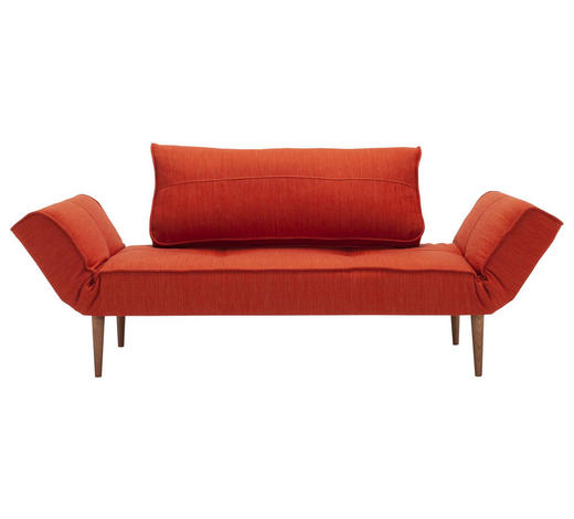 SCHLAFSOFA in Textil Orange - Dunkelbraun/Orange, Design, Holz/Textil (200/81/70cm) - Innovation