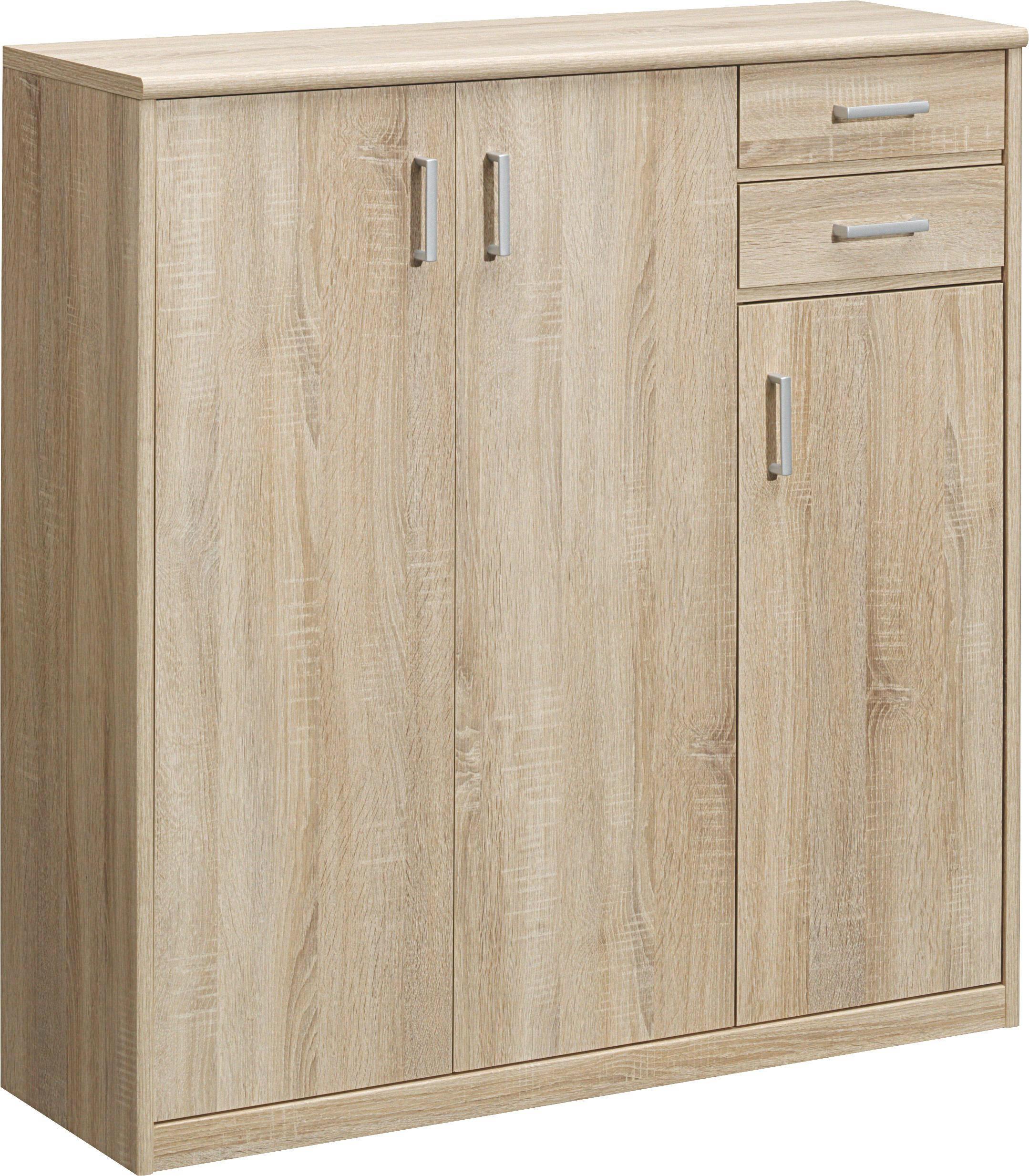KOMMODE in Eichefarben - Eichefarben/Silberfarben, KONVENTIONELL, Holzwerkstoff/Kunststoff (106/110/36cm) - CS SCHMAL