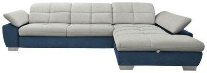 WOHNLANDSCHAFT in Textil Blau, Silberfarben, Hellgrau  - Chromfarben/Blau, Design, Textil/Metall (297/204cm) - Xora