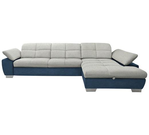 WOHNLANDSCHAFT in Textil Blau, Hellgrau, Silberfarben - Chromfarben/Blau, Design, Textil/Metall (297/204cm) - Xora
