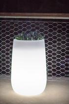 LED PFLANZGEFÄß CAMELIA HIGH - Weiß, Design, Kunststoff (39/59cm)