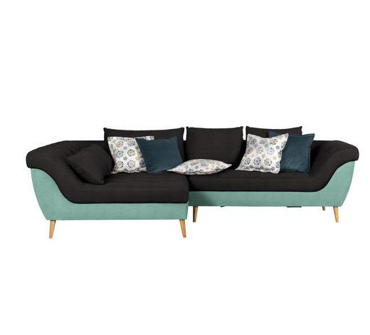 WOHNLANDSCHAFT in Textil Anthrazit, Mintgrün - Anthrazit/Naturfarben, Design, Holz/Textil (175/313cm) - Carryhome