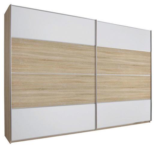 SCHWEBETÜRENSCHRANK 2-türig Eichefarben, Weiß - Eichefarben/Silberfarben, Design, Glas/Holzwerkstoff (270/236/69cm) - Cantus