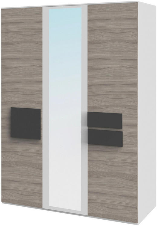 KLEIDERSCHRANK 3-türig Anthrazit, Braun, Weiß - Anthrazit/Braun, Basics, Holzwerkstoff (151,3/214,8/61,5cm) - Xora