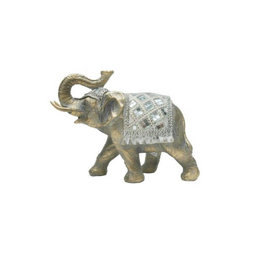 Image of Ambia Home Dekoelefant , Ny9153100 , Braun, Silberfarben , Kunststoff , 8x14x18 cm , lackiert , stehend, zum Stellen , 0083060117
