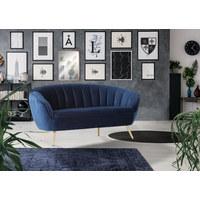 DREISITZER-SOFA in Textil Blau  - Blau/Goldfarben, Trend, Textil (193/81/83cm) - Xora