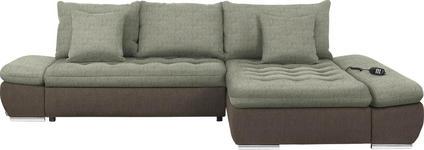 WOHNLANDSCHAFT in Textil Beige, Taupe - Taupe/Chromfarben, Design, Textil/Metall (309/200cm) - Hom`in