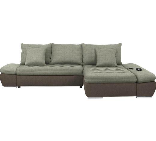 WOHNLANDSCHAFT in Textil Taupe, Beige  - Taupe/Chromfarben, Design, Textil/Metall (309/200cm) - Hom`in