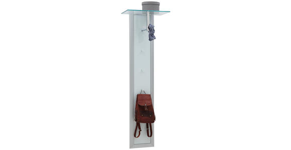 GARDEROBENPANEEL 52/170/35 cm - Alufarben/Weiß, Design, Glas/Metall (52/170/35cm) - Dieter Knoll