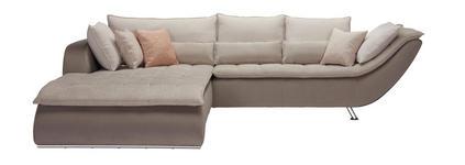 WOHNLANDSCHAFT in Textil Beige, Taupe - Taupe/Sandfarben, Design, Textil/Metall (220/300cm) - Hom`in