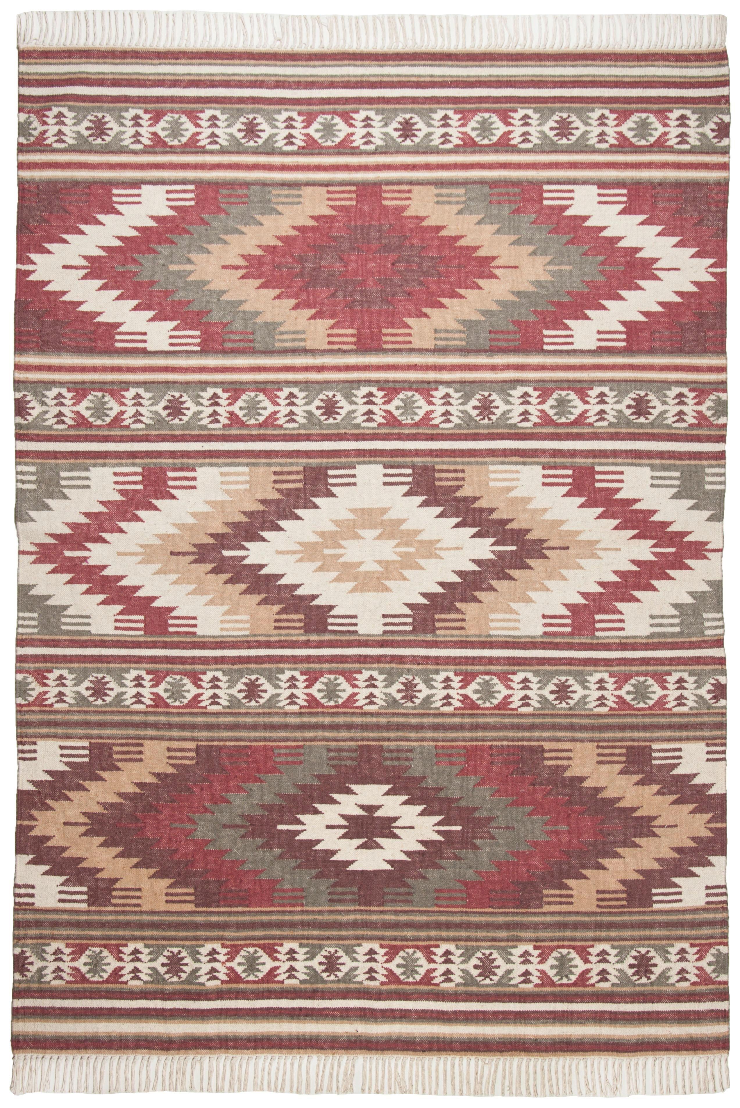 ROČNO TKANA PREPROGA - rdeča, Trendi, tekstil (140/200cm)