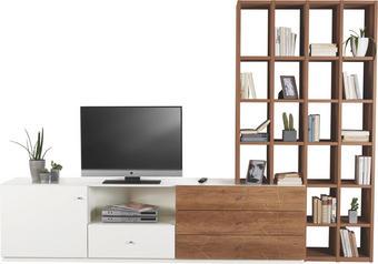 OBÝVACÍ STĚNA, barvy dubu, krémová - šedá/barvy dubu, Design, kov/dřevěný materiál (291/203,5/45,3cm) - Prenneis