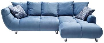 WOHNLANDSCHAFT Blau Samt - Blau/Chromfarben, Design, Kunststoff/Textil (275/192cm) - Hom`in