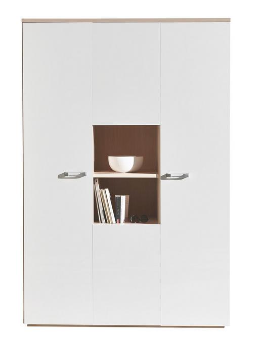 DREHTÜRENSCHRANK 4-türig Eschefarben, Weiß - Eschefarben/Silberfarben, Design, Holz/Kunststoff (140/210/61cm) - Carryhome
