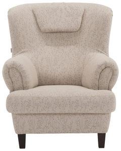 FÅTÖLJ - beige/mörkbrun, Klassisk, trä/textil (90/104/98cm) - Welnova