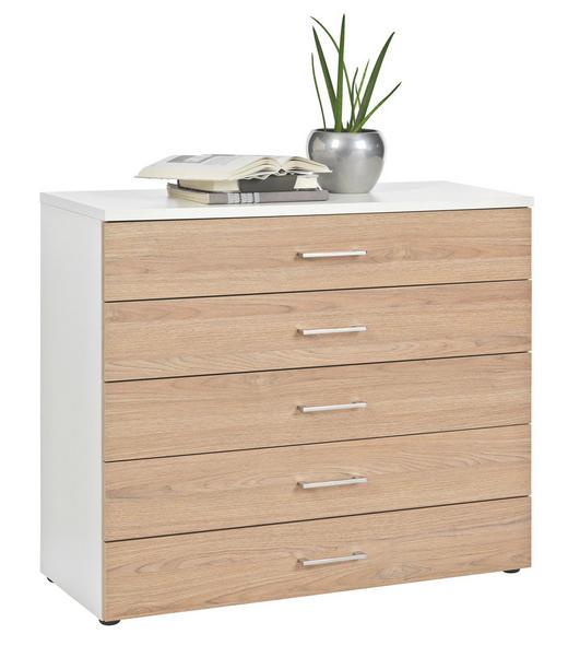 KOMMODE Eichefarben, Weiß - Chromfarben/Eichefarben, Design, Kunststoff/Metall (100/84/39,5cm) - Carryhome