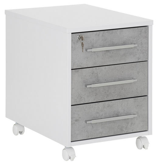 ROLLCONTAINER Grau, Weiß - Alufarben/Weiß, Design, Kunststoff (43,0/59,0/65,00cm)