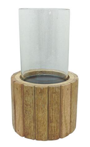 LJUSLYKTA - klar/brun, Lifestyle, glas/trä (12,5/22cm) - Ambia Home