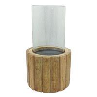 SVÍČKA VE SKLE - čiré/hnědá, Lifestyle, dřevo/sklo (12,5/22cm) - Ambia Home