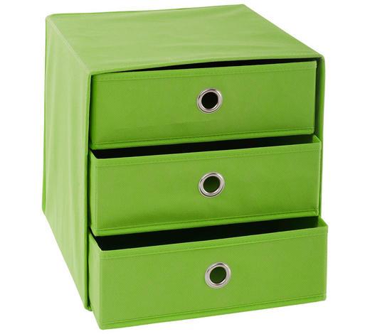 FALTBOX Metall, Textil, Karton Grün, Silberfarben  - Silberfarben/Grün, Design, Karton/Textil (32/32/31,5cm) - Carryhome