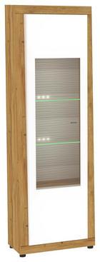 VITRINE Eichefarben, Weiß - Eichefarben/Silberfarben, MODERN, Glas/Holzwerkstoff (65/205/39cm) - Xora