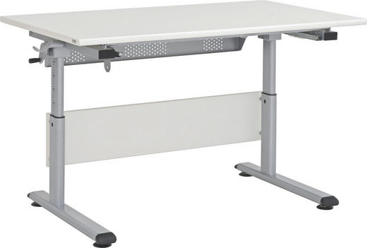 JUGENDSCHREIBTISCH Beige, Silberfarben - Beige/Silberfarben, Design, Metall (120/53-79/70cm) - Paidi