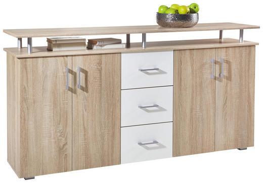 SIDEBOARD Eichefarben, Weiß - Eichefarben/Silberfarben, Design, Holzwerkstoff/Kunststoff (180/90/40cm) - Carryhome