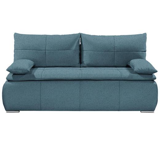 SCHLAFSOFA in Textil Blau - Blau/Silberfarben, KONVENTIONELL, Kunststoff/Textil (208/102/95cm)