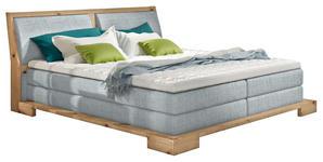 BOXSPRINGBETT 160/200 cm - Eichefarben/Hellblau, Design, Holz/Textil (160/200cm) - Linea Natura