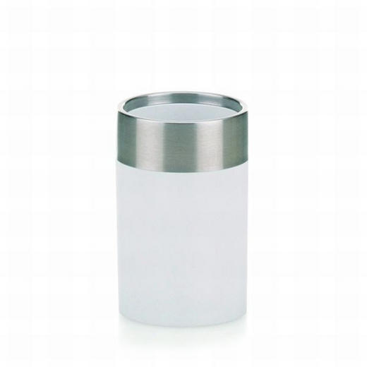 ZAHNPUTZBECHER - Weiß, Basics, Kunststoff/Metall (7/10,5cm)